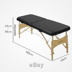 2 Way Lightweight Portable Folding Massage Bed Beauty Salon Couch Table Black
