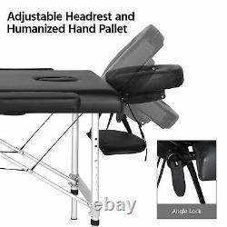 3 Fold Aluminum Frame Beauty Bed Massage Chair Table Salon Tattoo Universal New