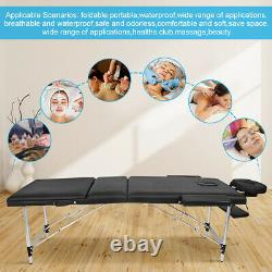 3 Folding Massage Table Portable Aluminum Salon SPA Tatto Beauty Massage Bed UK