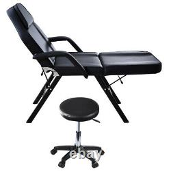 Adjustable Beauty Salon Bed & Stool- Massage Table Tattoo Therapy SPA Black