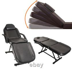 Adjustable Beauty Salon Chair Balance Massage Table Tattoo Couch Bed+Stool Black