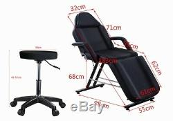 Adjustable Massage Bed Chair & Stool Fit Beauty Salon Table Tattoo Therapy Black