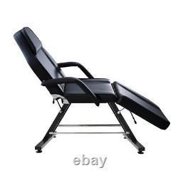 Adjustable Reclining Massage Couch Bed Chair & Stool Beauty Salon Table Black