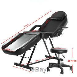 Adjustable Salon SPA Massage Bed Tattoo Chair Table Beauty Therapy Couch + Stool