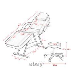 Beauty Massage Table Stool Set Reclining Salon Tattoo Spa Bed Height Adjustment