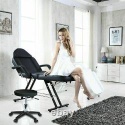 Beauty Salon Bed Chair Reclining Massage Table Facial Therapy Tattoo Couch+Stool