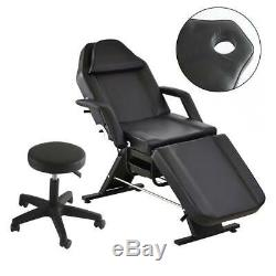 Beauty Salon Bed Chair Stool Included Massage Table Tattoo Therapy Black