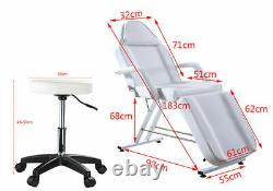 Beauty Salon Bed Stool Set Massage Table Tattoo Couch Massage Chair Black/White
