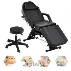 Beauty Salon Massage Bed Chair With Stool Tattoo Therapy Table recliner Black