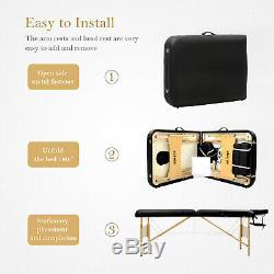 Beauty Salon Massage Table Portable Folding Lightweight Therapy Couch Bed Black