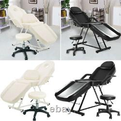 Beauty Salon Massage Table Reclining Chair Bed Facial Tattoo SPA Couch Stool Set