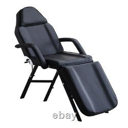 Beauty Salon Recliner Black Massage Table Bed Adjustable Couch Chair With Stool