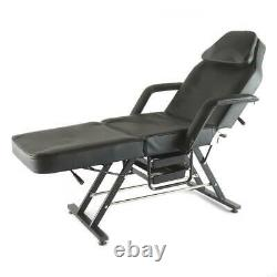 Beauty Salon Recliner Black Massage Table Bed Adjustable Therapy Couch Chair