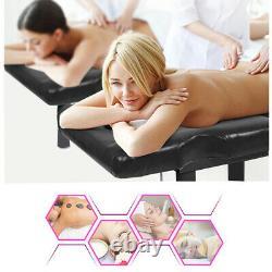 Black Adjustable Massage Table Spa Bed Beauty Salon Tattoo Therapy Rack Storage