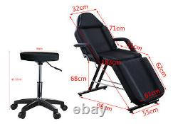 Black Beauty Salon Chair Bed Stool Set Facial Massage Therapy Table Tattoo Couch