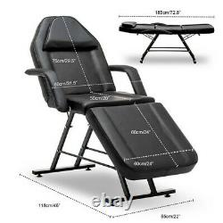 Black Massage Table Beauty Salon Treatment Tattoo Couch Bed Chair with Stool