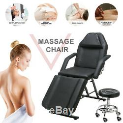 Black Massage Table Chair Tattoo Salon Beauty Therapy SPA Couch Bed with Stool