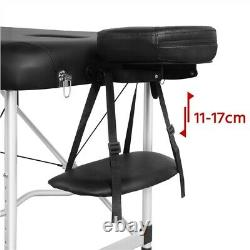Black Massage Table Spa Beauty Bed Portable Salon Therapy Couch Alloy 3 Sections