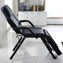 Black Recliner Beauty Salon Bed Massage Table Tattoo Spa Couch Chair With Stool UK