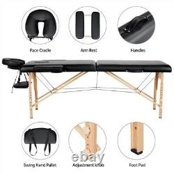 Foldable Massage Table Facial Spa Beauty Bed Tattoo Salon Therapy Couch Headrest