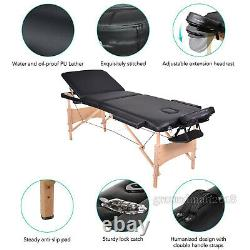 Folding Beauty Salon Recliner Black Massage Table Bed Adjustable Couch Spa Chair