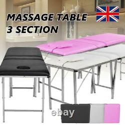 Folding Massage Table Spa Portable Beauty Lash Bed Salon Therapy Couch 3 Section