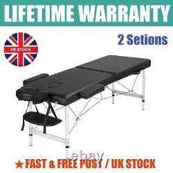 Folding Mobile Beauty Salon Massage Bed Portable Folding Table Chair Bench Black