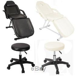 Ivory/Black Beauty Salon Chair Balance Massage Bed Table Treatment Couch + Stool
