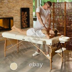 Lightweight Folding Massage Table Beauty Salon Therapy Couch Beige Relax Spa Bed