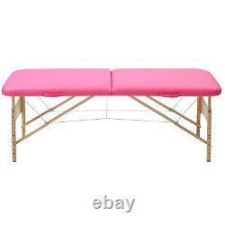 Lightweight Portable 2 Folding Massage Table Bed Beauty Salon Couch Pink