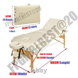 Lightweight Portable Folding Massage Table Beauty Salon Therapy Couch Beige Bed
