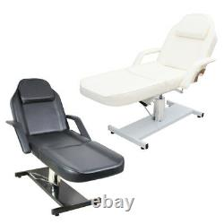 Lying Massage Table Hydraulic Reclining Tattoo Beauty Salon Couch Bed + 1 Stool