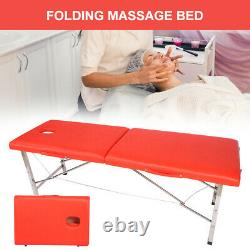 Massage Bed SPA Table Stainless Steel Folding Beauty Bed for Home Salon Red
