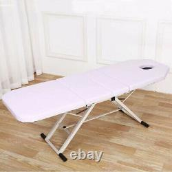 Massage Bed Table Portable 3 Sections White Folding Therapy Beauty Salon Tattoo