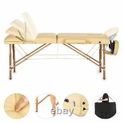 Massage Table Portable Therapy Bed Foldable Beauty Salon Couch Portable Beige