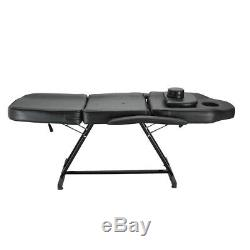 Massage Table Reclining Salon Chair Beauty Couch Bed & Stool Spa Tattoo Black