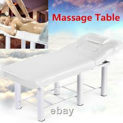Massage Table Spa Bed Portable Beauty Salon Tattoo Therapy Couch Metal Leg White
