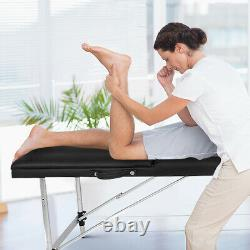 Mobile Beauty Salon Massage Bed Portable 3 Folding Table SPA Bench Couch Black