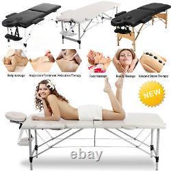 Mobile Beauty Salon Massage Bed Portable Folding Table Chair Bench Black/ Beige