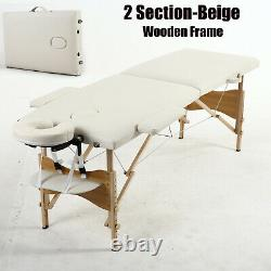 Portable 2/3 Section Folding Massage Table Beauty Salon Tattoo Therapy Couch Bed