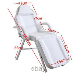 Portable 3 Section Beauty Bed Massage Table Salon Spa Couch Tattoo Stool White