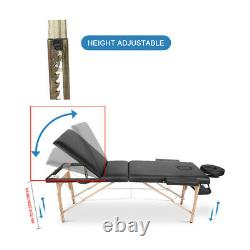 Portable Folding Massage Table Beauty Salon Tattoo Therapy Couch Bed Wooden Set