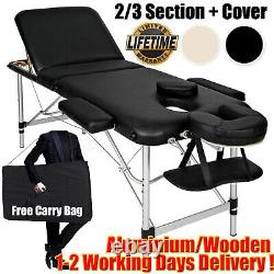 Portable Massage Bed Table Section Foldable Beauty Salon Couch Metal Headrest