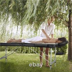 Portable Massage Bed Table Therapy Couch Black Salon Adjustable Folding Beauty
