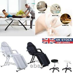 Recliner Beauty Salon Bed Stool Set, Massage Table Tattoo Spa Chair White/Black