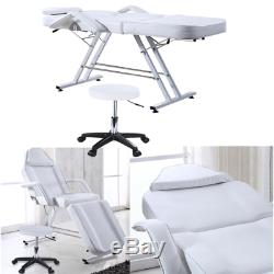 Reclining Beauty Salon Chair Massage Table Treatment Tattoo Couch Bed White New