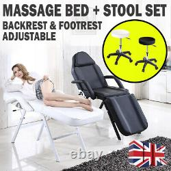 Reclining Massage Bed Table Chair Stool Set Beauty Salon Couch Facial Therapy UK