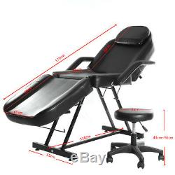 Reclining Massage Table Beauty Salon Tattoo Therapy Facial Couch Bed Chair Stool