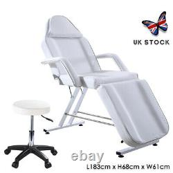 Reclining Massage Table Chair Beauty Salon Bed Adjustable Stool Included White