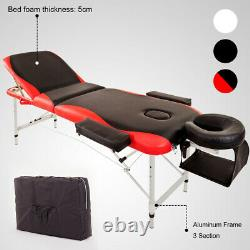 Red Beauty Salon Massage Recliner Table & Chair Stool Tattoo Therapy Bed Set